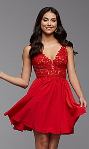Image of short homecoming dress with embroidered bodice. Style: PG-FHC-21-17 Detail Image 2