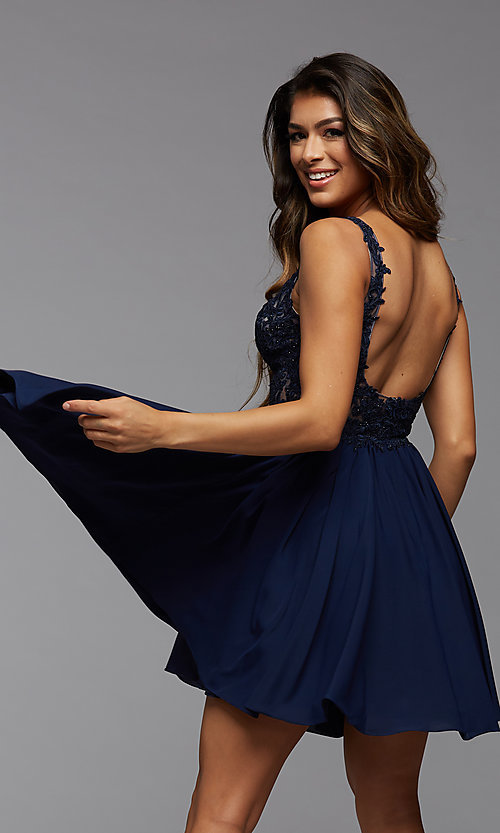 Image of short homecoming dress with embroidered bodice. Style: PG-FHC-21-17 Back Image