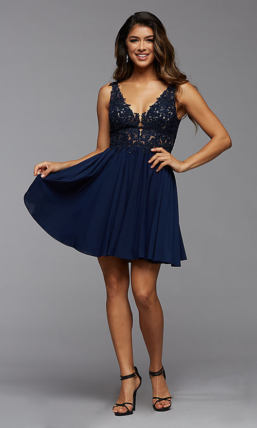 Image of short homecoming dress with embroidered bodice. Style: PG-FHC-21-17 Detail Image 1