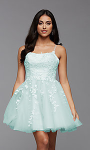 Image of strappy open-back short babydoll homecoming dress. Style: PG-FHC-21-18 Detail Image 3