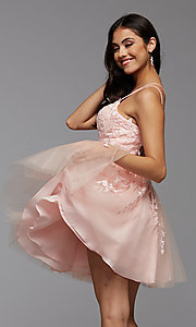 Image of strappy open-back short babydoll homecoming dress. Style: PG-FHC-21-18 Front Image