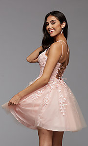Image of strappy open-back short babydoll homecoming dress. Style: PG-FHC-21-18 Back Image