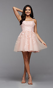 Image of strappy open-back short babydoll homecoming dress. Style: PG-FHC-21-18 Detail Image 1