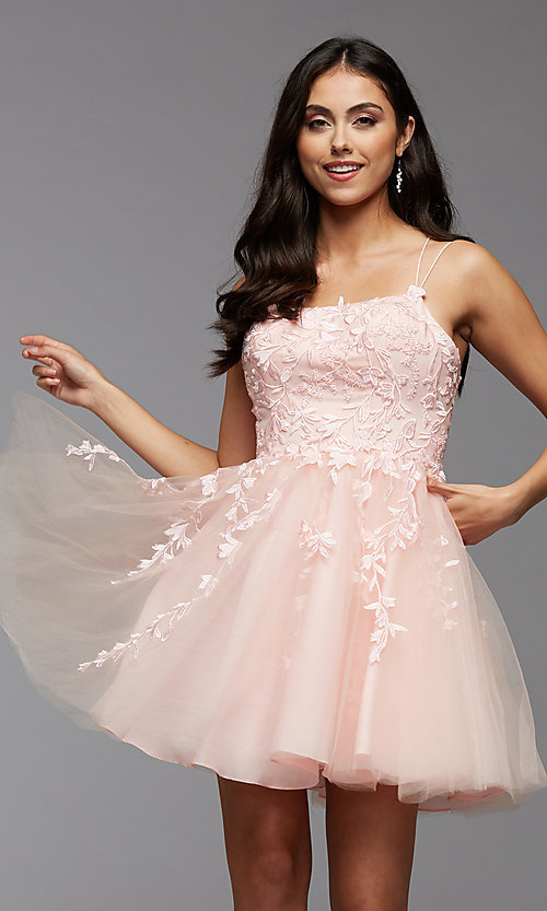 Image of strappy open-back short babydoll homecoming dress. Style: PG-FHC-21-18 Detail Image 2