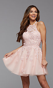 Image of high-neck corset-back short homecoming party dress. Style: PG-FHC-21-23 Detail Image 1