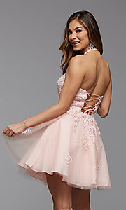 Image of high-neck corset-back short homecoming party dress. Style: PG-FHC-21-23 Back Image