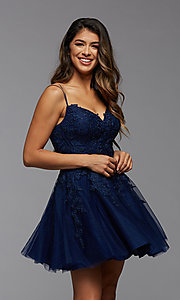 Image of short homecoming dress with beaded embroidery. Style: PG-FHC-21-25 Detail Image 2