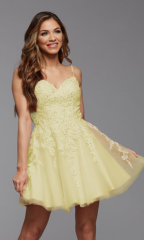 Image of short homecoming dress with beaded embroidery. Style: PG-FHC-21-25 Detail Image 4