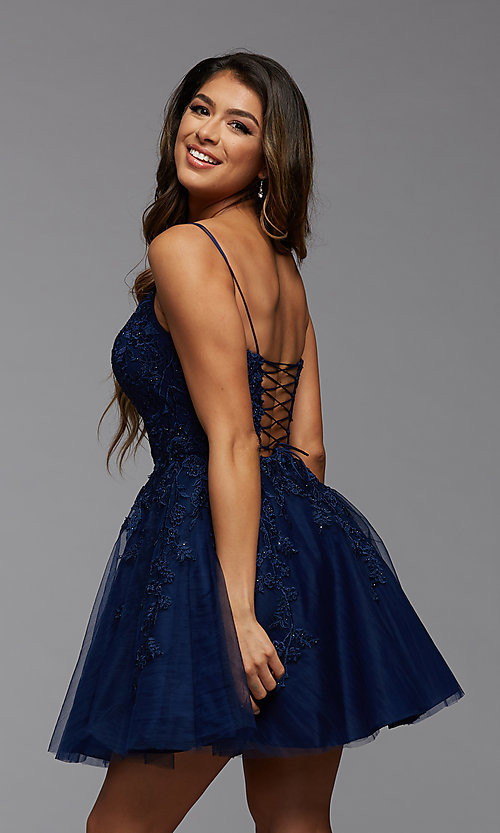 Image of short homecoming dress with beaded embroidery. Style: PG-FHC-21-25 Detail Image 3