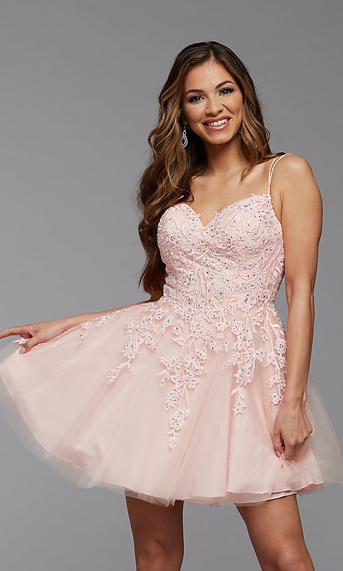 Image of short homecoming dress with beaded embroidery. Style: PG-FHC-21-25 Detail Image 1