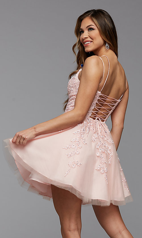 Image of short homecoming dress with beaded embroidery. Style: PG-FHC-21-25 Back Image