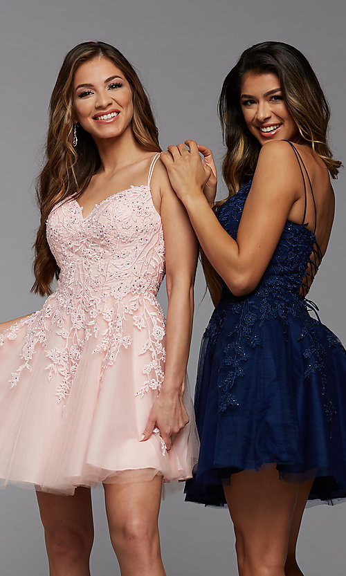 Image of short homecoming dress with beaded embroidery. Style: PG-FHC-21-25 Front Image