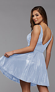 Image of metallic-knit short homecoming dance party dress. Style: PG-FHC-21-33 Detail Image 2