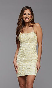 Image of short tight semi-formal homecoming party dress. Style: PG-FHC-21-41 Detail Image 5