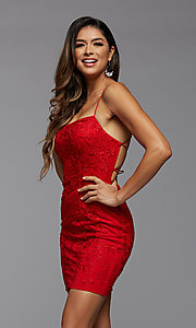 Image of short tight semi-formal homecoming party dress. Style: PG-FHC-21-41 Detail Image 1