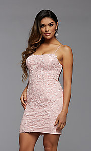 Image of short tight semi-formal homecoming party dress. Style: PG-FHC-21-41 Front Image