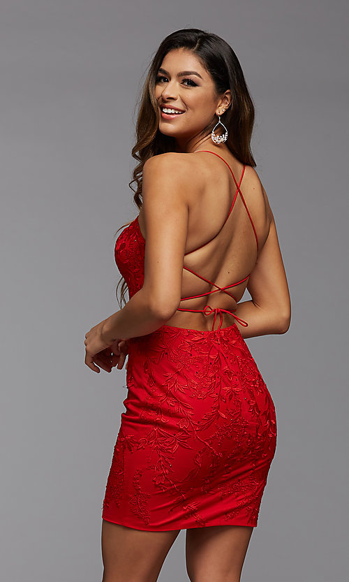 Image of short tight semi-formal homecoming party dress. Style: PG-FHC-21-41 Detail Image 2