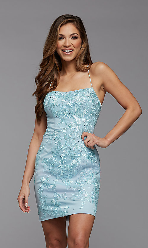 Image of short tight semi-formal homecoming party dress. Style: PG-FHC-21-41 Detail Image 3