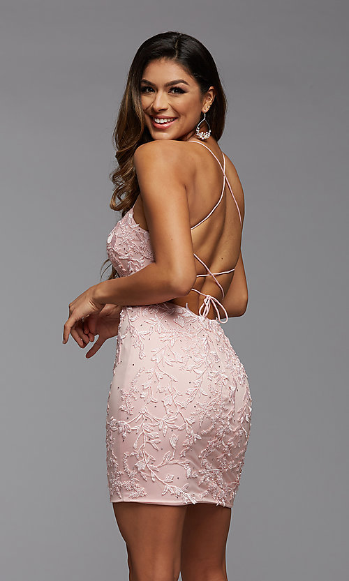 Image of short tight semi-formal homecoming party dress. Style: PG-FHC-21-41 Back Image