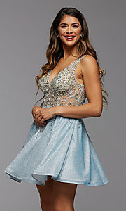 Image of short homecoming dress in beaded metallic knit. Style: PG-FHC-21-42 Front Image