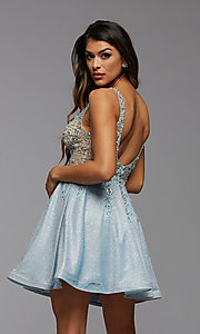 Image of short homecoming dress in beaded metallic knit. Style: PG-FHC-21-42 Back Image