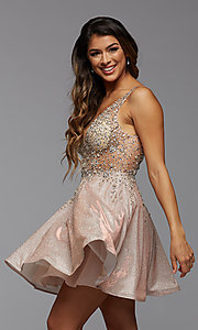 Image of short homecoming dress in beaded metallic knit. Style: PG-FHC-21-42 Detail Image 2