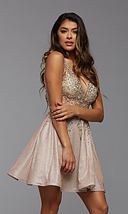 Image of short homecoming dress in beaded metallic knit. Style: PG-FHC-21-42 Detail Image 4