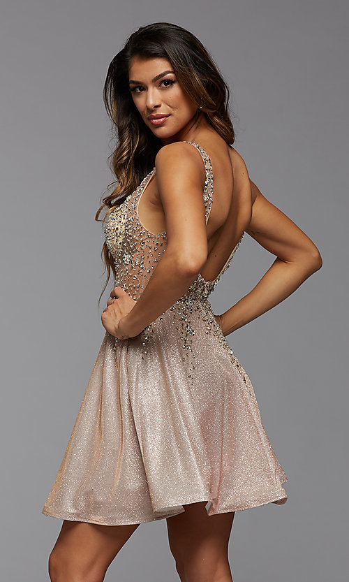 Image of short homecoming dress in beaded metallic knit. Style: PG-FHC-21-42 Detail Image 3