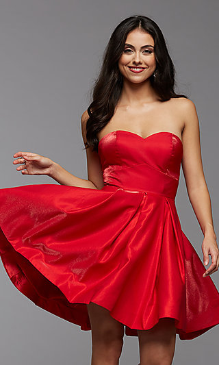 Strapless Short Homecoming Party Dress with Corset