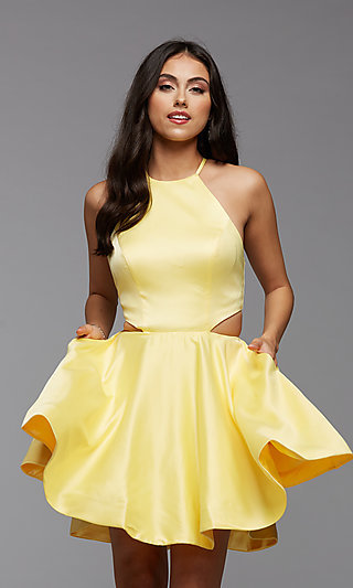 Corset-Back Side Cut-Out Short Homecoming Dress