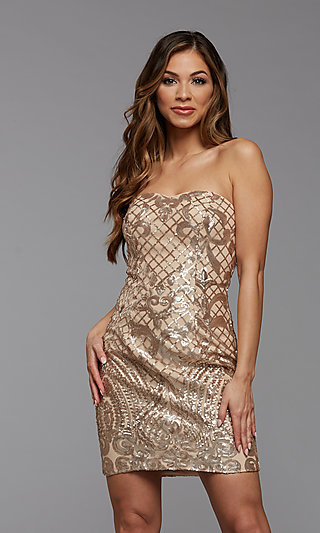 Short Sequined Strapless Homecoming Party Dress