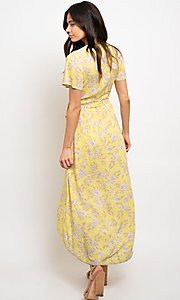 Image of wrap-style yellow print high-low party dress. Style: FG-CLC-21-D8358WT Back Image