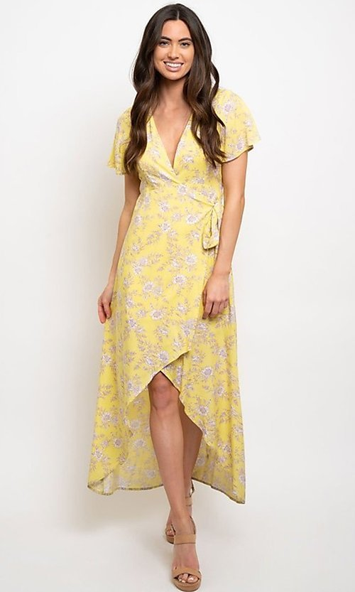 Image of wrap-style yellow print high-low party dress. Style: FG-CLC-21-D8358WT Detail Image 1
