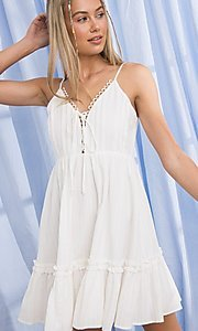 Image of short cotton casual party dress with ruffle. Style: FG-PM-21-PD15723 Front Image