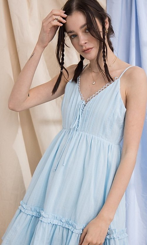 Image of short cotton casual party dress with ruffle. Style: FG-PM-21-PD15723 Detail Image 5