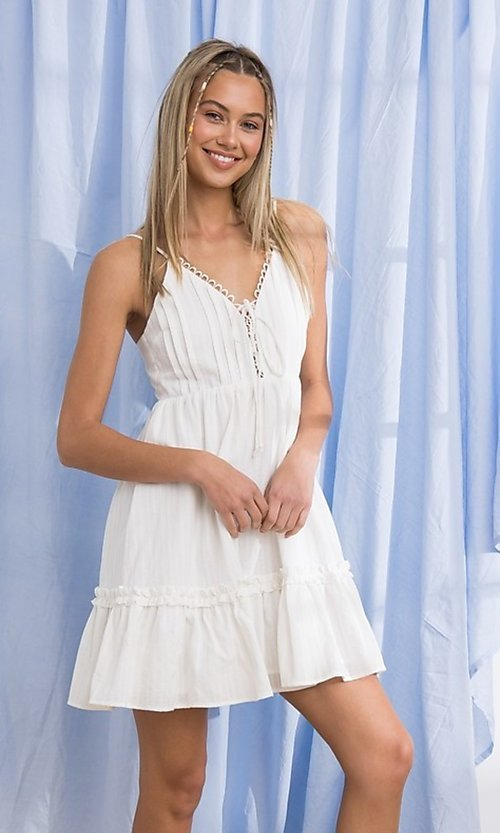 Image of short cotton casual party dress with ruffle. Style: FG-PM-21-PD15723 Detail Image 1