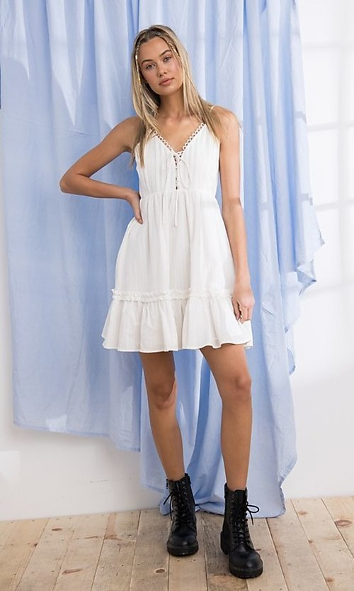 Image of short cotton casual party dress with ruffle. Style: FG-PM-21-PD15723 Detail Image 3
