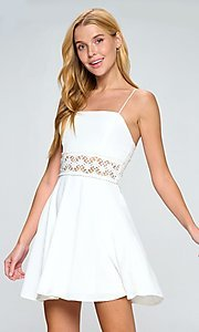 Image of lace waist a-line short white casual party dress. Style: LAS-LOV-21-QD5122 Front Image