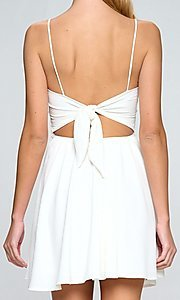 Image of lace waist a-line short white casual party dress. Style: LAS-LOV-21-QD5122 Back Image