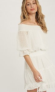 Image of half-sleeve short Swiss dot casual party dress. Style: FG-APB-21-CQ-AG1270 Detail Image 1