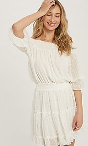 Image of half-sleeve short Swiss dot casual party dress. Style: FG-APB-21-CQ-AG1270 Detail Image 2