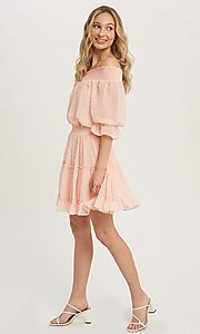 Image of half-sleeve short Swiss dot casual party dress. Style: FG-APB-21-CQ-AG1270 Detail Image 5