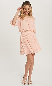 Image of half-sleeve short Swiss dot casual party dress. Style: FG-APB-21-CQ-AG1270 Detail Image 6