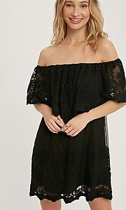 Image of casual off-the-shoulder short lace party dress. Style: FG-APB-21-CQ-AG1269 Detail Image 2