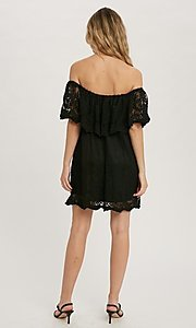 Image of casual off-the-shoulder short lace party dress. Style: FG-APB-21-CQ-AG1269 Detail Image 3