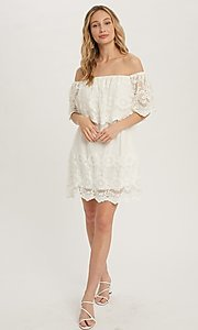 Image of casual off-the-shoulder short lace party dress. Style: FG-APB-21-CQ-AG1269 Front Image