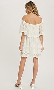 Image of casual off-the-shoulder short lace party dress. Style: FG-APB-21-CQ-AG1269 Back Image