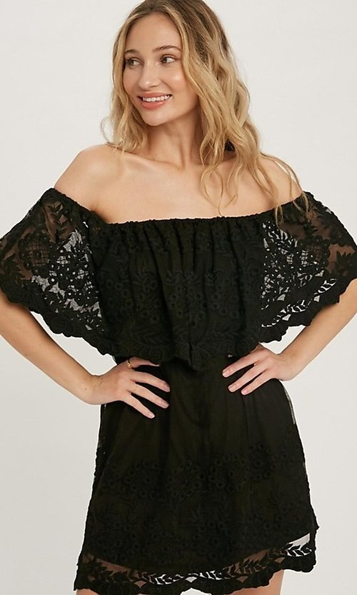 Image of casual off-the-shoulder short lace party dress. Style: FG-APB-21-CQ-AG1269 Detail Image 4