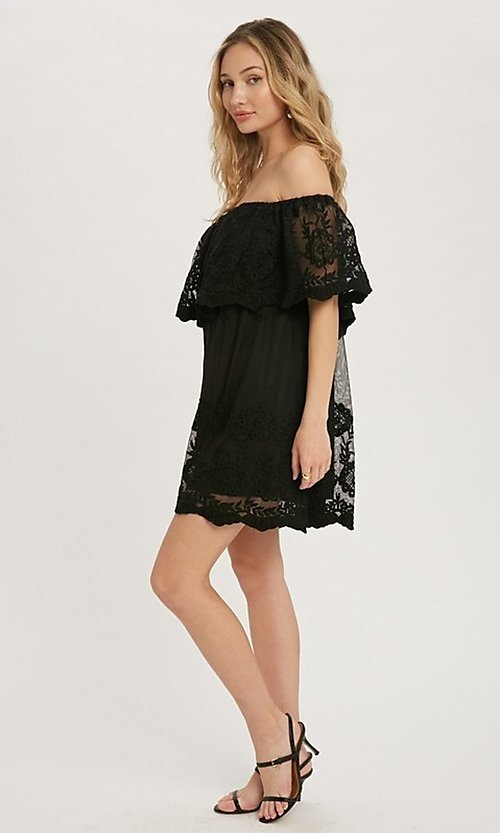 Image of casual off-the-shoulder short lace party dress. Style: FG-APB-21-CQ-AG1269 Detail Image 5