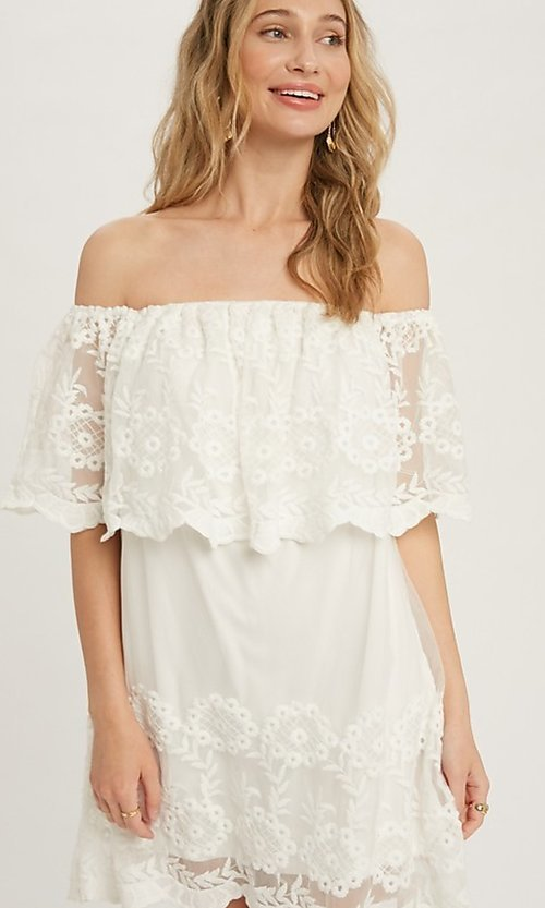 Image of casual off-the-shoulder short lace party dress. Style: FG-APB-21-CQ-AG1269 Detail Image 1